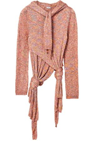 Loewe Dames Sweaters - Scarf-neck Knotted Sequinned Sweater - Womens - Pink