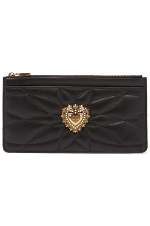Dolce & Gabbana Dames Portemonnees - Devotion Zipped Quilted-leather Cardholder - Womens - Black