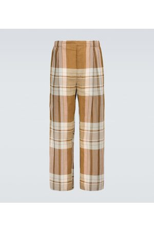LEMAIRE Heren Broeken - Pleated checked drawstring pants