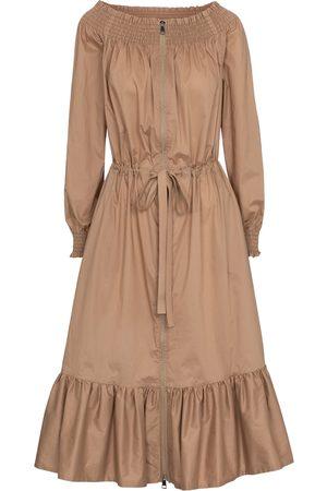 Moncler Off-shoulder cotton midi dress
