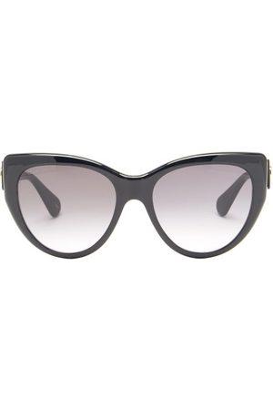 Gucci GG-logo Oversized Cat-eye Acetate Sunglasses - Womens - Black