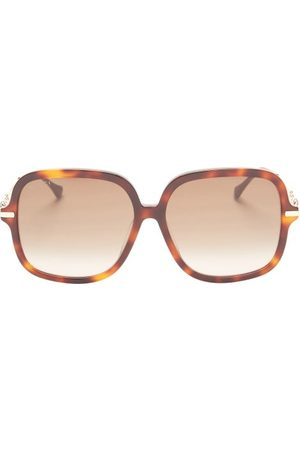 Gucci Dames Zonnebrillen - Horsebit Butterfly Acetate Sunglasses - Womens - Tortoiseshell