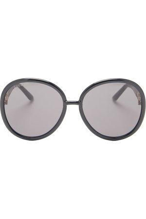 Gucci Horsebit-chain Oversized Round Acetate Sunglasses - Womens - Black