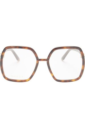 Gucci Dames Zonnebrillen - Horsebit Butterfly Acetate Glasses - Womens - Tortoiseshell