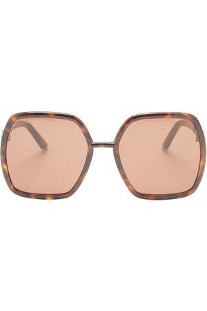 Gucci Horsebit Oversized Hexagon Acetate Sunglasses - Womens - Tortoiseshell