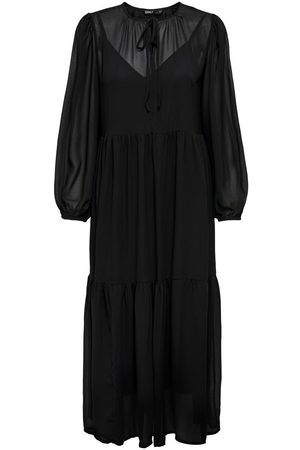 ONLY Dames Lange jurken - Wide Fit Sleeve Maxi Jurk Dames Zwart