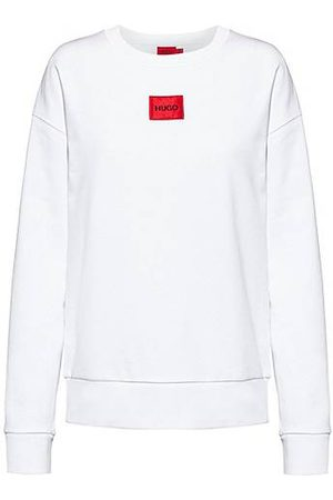 HUGO BOSS Regular-fit sweater van katoen met rood logolabel