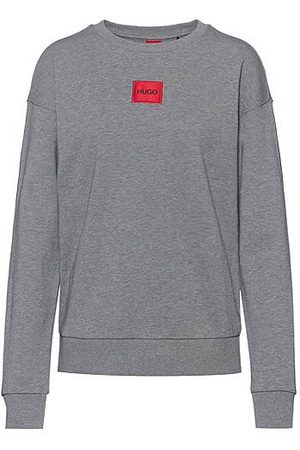 HUGO BOSS Regular-fit sweater van katoen met rood logolabel
