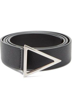 Bottega Veneta Triangle-buckle Grained-leather Belt - Mens - Black