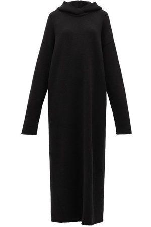 Raey Dames Gebreide jurken - Hooded Knitted Cashmere Maxi Dress - Womens - Black