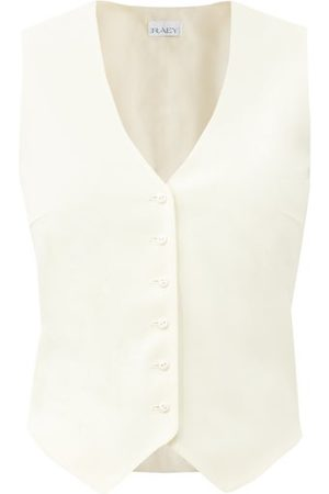 Raey Dames Gilets - Single-breasted Wool-twill Waistcoat - Womens - Ivory