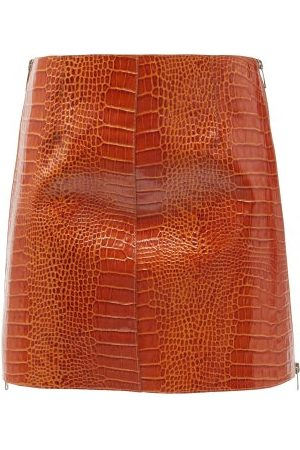 Givenchy Crocodile-effect Leather Mini Skirt - Womens - Brown