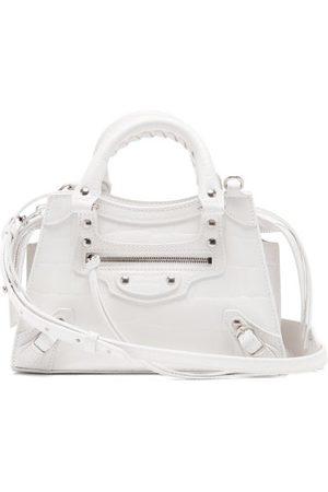 Balenciaga Dames Schoudertassen - Neo Classic City Crocodile-effect Leather Bag - Womens - White