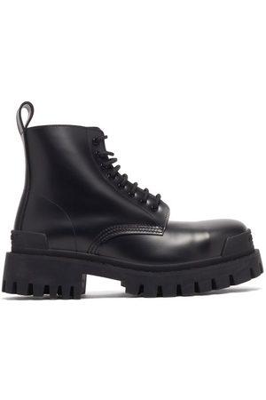 Balenciaga Strike Leather Combat Boots - Mens - Black
