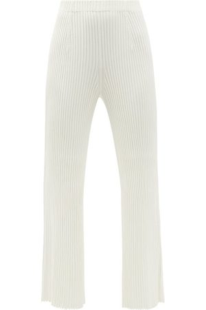Proenza Schouler High-rise Rib-knitted Flared-leg Trousers - Womens - White