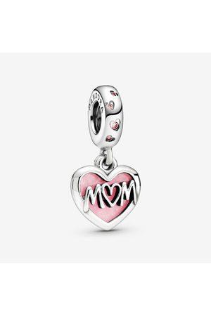PANDORA Dames Kettingen - Mum Script Heart Hangende Bedel, Sieraden uit Sterling zilver, Cubic Zirconia, , 798887C01