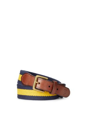 Boys Jongens Riemen - Striped Leather-Trim Cotton Belt
