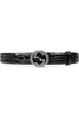 Gucci Heren Riemen - Crocodile belt with interlocking G buckle