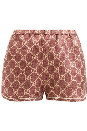 Gucci GG-logo High-rise Silk Shorts - Womens - Brown Print