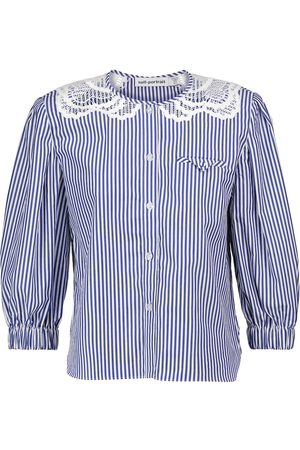 Self-Portrait Lace-trimmed striped cotton blouse