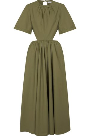 Deveaux New York Cut-out poplin midi dress