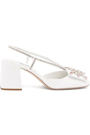 Miu Miu Crystal-embellished Patent-leather Pumps - Womens - White