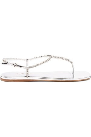 Miu Miu Crystal-embellished Patent-leather Sandals - Womens - Silver