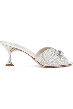 Miu Miu Crystal-embellished Bow Metallic-leather Mules - Womens - Silver