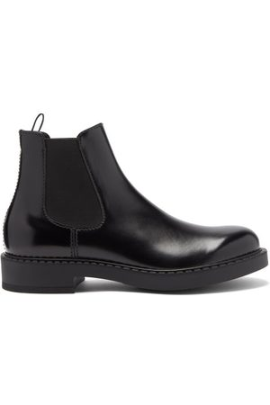 Prada High-shine Leather Chelsea Boots - Mens - Black