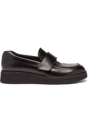 Prada Velcro-strap Leather Platform Loafers - Mens - Black