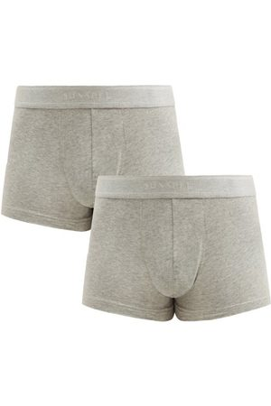 Sunspel Heren Ondergoed - Pack Of Two Cotton-blend Boxer Briefs - Mens - Grey