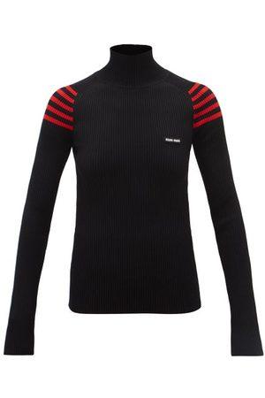 Miu Miu Logo-patch Striped-shoulder Ribbed Sweater - Womens - Black Red