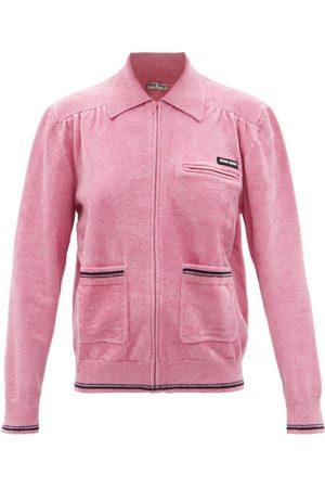 Miu Miu Stripe-trim Chenille Zip-through Cardigan - Womens - Pink