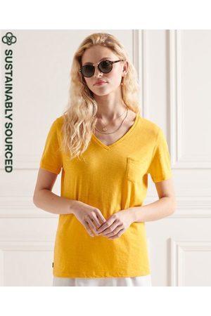 Superdry Dames Shirts - T-shirt van biologisch katoen met V-hals en borstzak