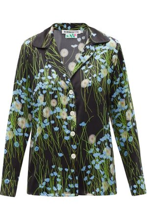 Bernadette Floral-print Silk-blend Satin Pyjamas - Womens - Black