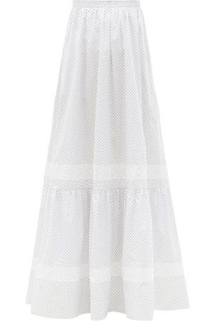 Erdem Annis Ditsy Floral-print Cotton-poplin Maxi Skirt - Womens - White Multi