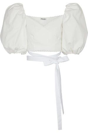 Miu Miu Dames Blouses - Cropped cotton blouse