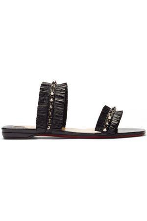 Christian Louboutin Marivodou Studded Raffia Sandals - Womens - Black