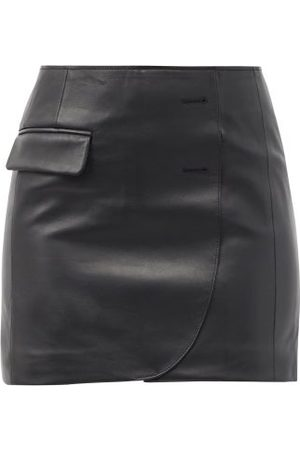 Vetements Asymmetric Leather Mini Skirt - Womens - Black