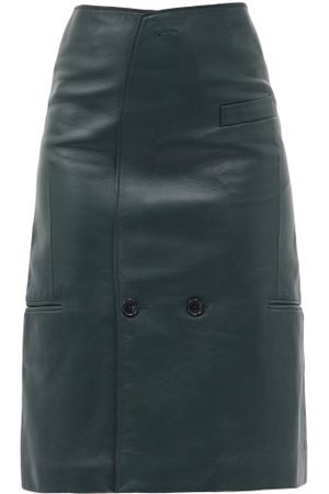 Vetements Dames Midi rokken - Tailored Leather Pencil Skirt - Womens - Dark Green