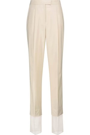Low Classic Dames Wijde broeken - High-rise straight wool-blend pants