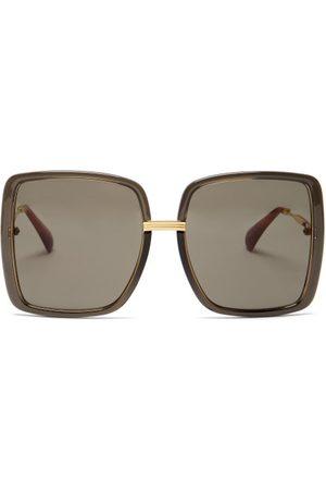 Gucci Dames Zonnebrillen - Oversized Square Acetate Sunglasses - Womens - Dark Grey
