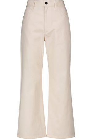 Jil Sander Dames Wijde broeken - High-rise cotton bootcut pants