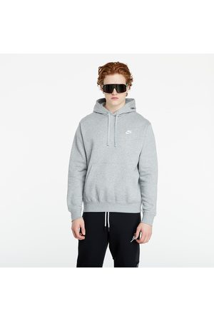 Nike Heren Sweaters - Sportswear Club Fleece Pullover Hoodie Dk Grey Heather/ Matte Silver/ White