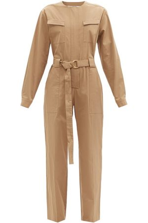 Another Tomorrow Belted Organic Cotton-blend Jumpsuit - Womens - Brown