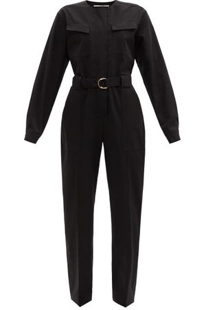 Another Tomorrow Belted Organic Cotton-blend Jumpsuit - Womens - Black