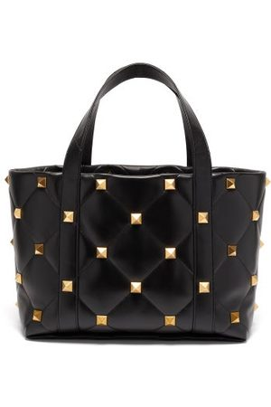 VALENTINO GARAVANI Dames Shoppers - Roman Stud Quilted-leather Tote Bag - Womens - Black