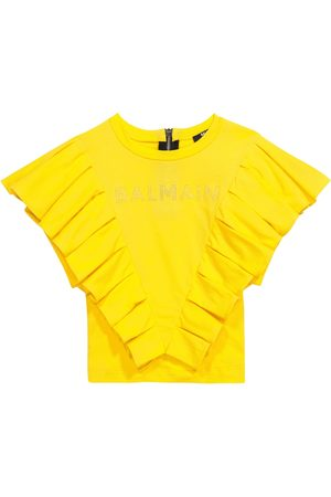 Balmain Ruffle-trimmed cotton T-shirt