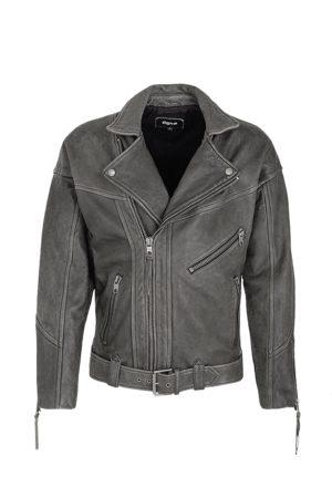 Tigha Heren Leren jassen - Heren Leren jas Chari zwart (vintage black)