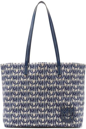 Miu Miu Logo-jacquard Cotton-blend Canvas Tote Bag - Womens - Blue White